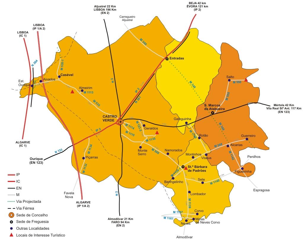 castro verde mapa Castro Verde – Site Oficial do MunicípioMapa do Concelho castro verde mapa